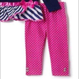 Nannette Matching Sets - Nannette Blue Sequin Heart Top & Pink Leggings Set